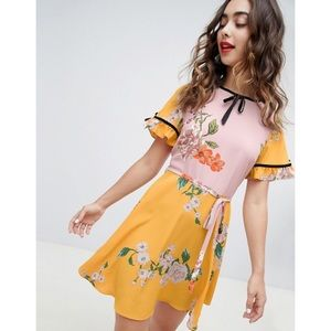River Island Floral Tea Dress with Velvet Trim